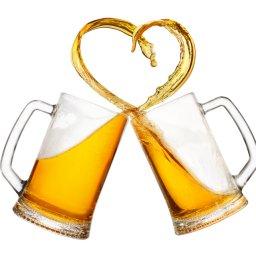 mugs of beer toasting creating splash isolated on white background. Cheers. Pair of beer mugs making toast. Beer up. Love beer concept